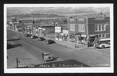 Three Forks, Montana Main Street Cars Greyhound Bus Gas 1930s ~ RECENT Arrival