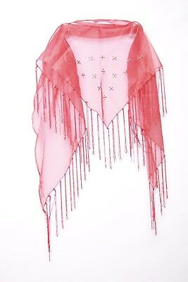 Red Triangular Sheer W Beading & Tassels Mature Lady's Occasion Scarf (S105)