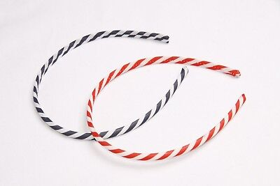 Red White Blue Fun Candy Cane Twist Print Casual Girls Pack Of 2 Headbands s192