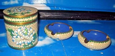 Antique Japanese Cloisonné Enamel Chrysanthemum Smoking Set Box and Ashtrays