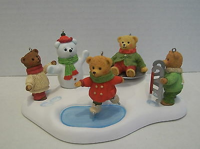 2002 Hallmark SNOW CLUB SET  5 PIECE Teddy Bear Christmas Ornament Set