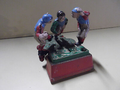 VINTAGE Cast Iron Football Rugby Players Mechanical Coin Bank (Broken)
