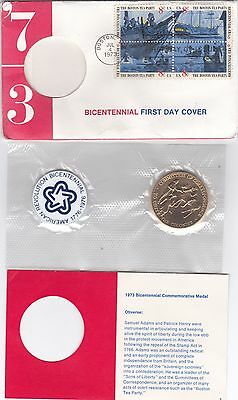 USA 1973 BICENTENNIAL FIRST DAY COVER with Medals S. Adams & P. Henry (BI#BX48)