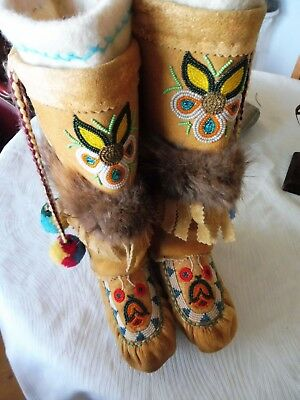 Vintage First Nations native Cree hide and fur Mukluks / Boots, genuine, beaded