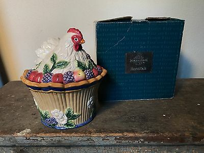 Fitz & Floyd French Orchard Canape Butter Tub Embossed Fruit Cherry Apple
