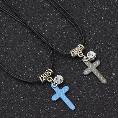Cross Pendant Necklace with Leather Strap Jewelry for Couple Anniversairy Gift