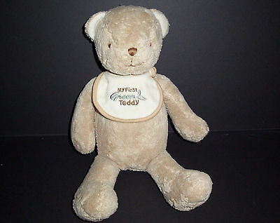 "15"" FAO Schwarz My First Green Teddy Bear Bib Plush Brown Baby Stuffed Toy"
