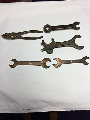 1 lot of assortment of  Safety Non Spark Wrenches and one plier (5 pieces total)