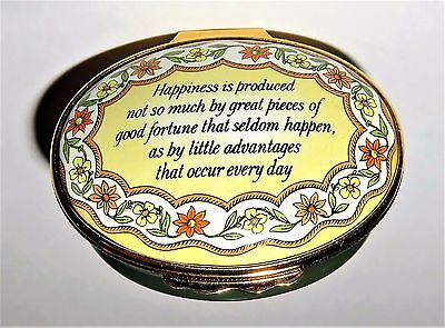 "Halcyon Days Enamel Box - ""happiness Is ... "" Phrase - Flowers & Leaves - Mib"