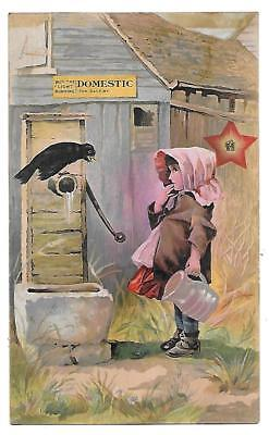 Victorian Trade Card Domestic Sewing Machine Girl + Crow