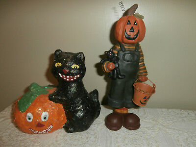 Lot Of 2 Vtg Midwest Of Cannon Falls Halloween Black Cat & Pumpkin Figurines