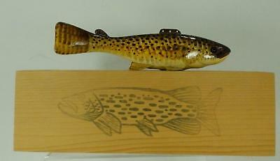 Carl Christiansen Fish Decoy in Wood Box Case Signed, Mint Condition