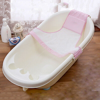 Baby Bath Net Bed Soft Slip-Resistant Mesh Sling Rack Plate Bathtub Blue or Pink