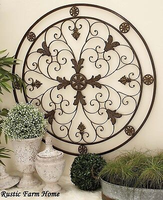 Round Wrought Iron Wall DECOR Elegant Scroll Rustic Antique Vintage Decor