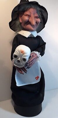 """Animated Motionette Witch With Skeleton Halloween Decoration 16"""" Rare SEE VIDEO"""