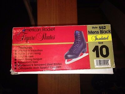 American Rocket black insulated Figure Skates 552 mens size 10 - NEW with BOX