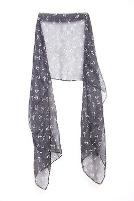 Sailor Black & White Anchor Print Everyday Wear Naval Theme Stylish Scarf (s41)