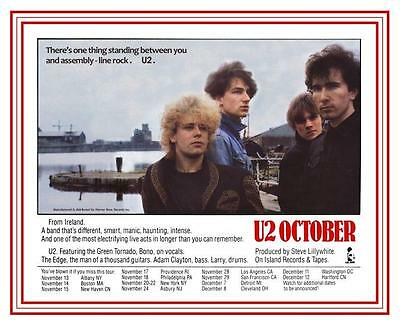 U2  October  **POSTER**   FIRST U.S. TOUR - ALBUM Promo Live Concert TOUR