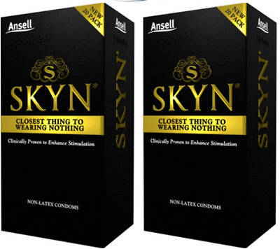 Ansell Skyn Non Latex Condoms Original Natural Feeling TWIN PACK 40 Condoms