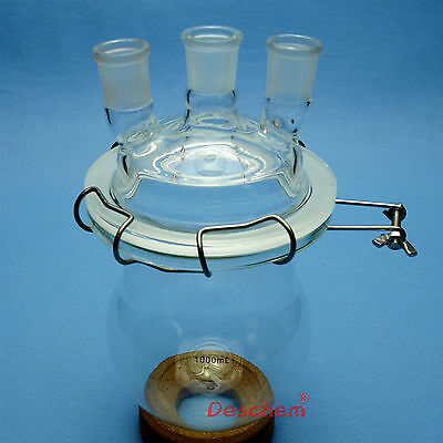 1000ml,24/29 Glass Reaction Vessel,1 L,3-Neck Lab Reactor With Lid & Steel Clamp