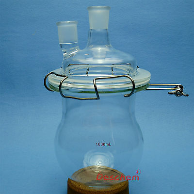 1000ml 24/29 Glass Reactor,1L,Two-Neck Lab Reaction Bottle,With Lid & Clamp