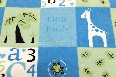 "NEW!HANDMADE,""LITTLE  BUDDY"",35X42in, BOYS,BABY/TODDLER FLANNEL QUILTED BLANKET"