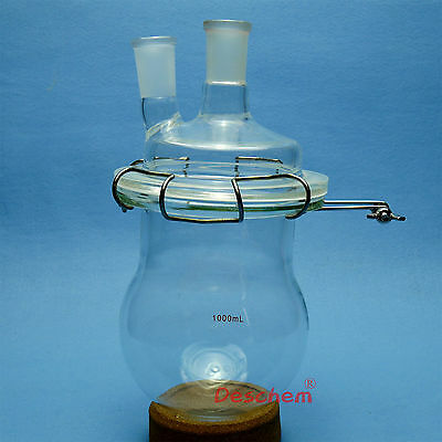1000ml,24/40,Glass Reaction Reactor,Twins Necks,1L,Reaction Flask,With Clamp