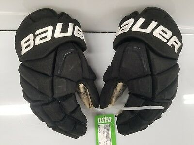 Trevor Lewis LA Kings Game Used Bauer Vapor APX2 Pro Hockey Gloves Black 14""
