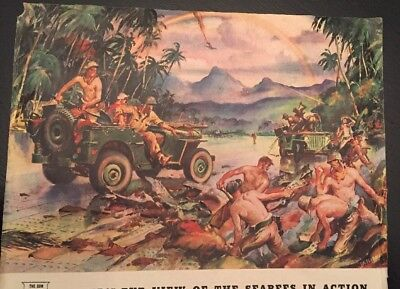 Vintage Magazine Ad WILLYS Jeep, A Jeep's-Eye View Of The Seabees .  ., Sessions