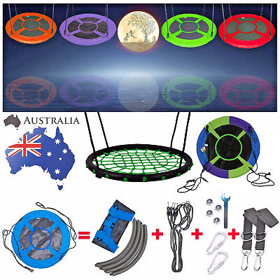 """AU Stock 100CM 40"""" Saucer Rotate Tree Nest Swing, 400lbs Flying Giant Rope Swing"""