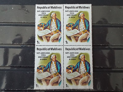 Bloc 4 timbres neuf Maldives : Capitaine James COOK