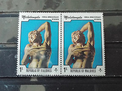 Paire 2 timbres neuf Maldives : Michelangelo (Michel Ange)