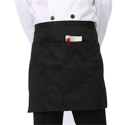 "1 Black Unisex Waiter Waist Half Short Apron Restaurant Kitchen Home 6.5"" Pocket"