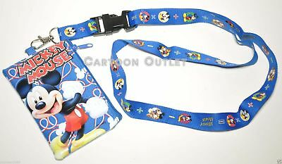 Disney Mickey Mouse Lanyard With Detachable Coin Pouch/wallet/purse-New