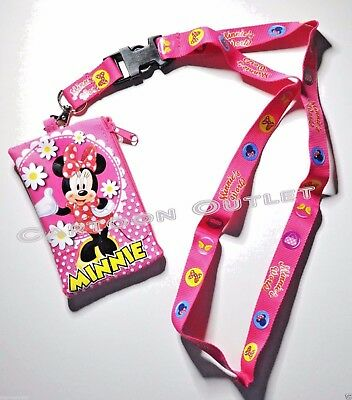 Disney Minnie Mouse Lanyard With Detachable Coin Pouch/wallet/purse-New