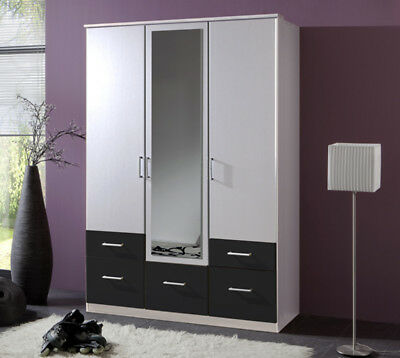 kleiderschrank clip schrank in wei und anthrazit 135 cm 3. Black Bedroom Furniture Sets. Home Design Ideas