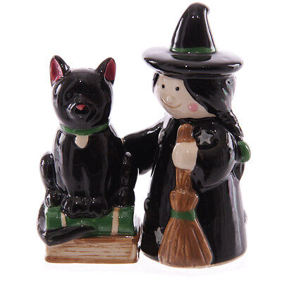 'Witch and Black Cat' Novelty Salt & Pepper Shakers (New and boxed)