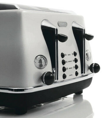 NEW DeLonghi CTO4003W Icona 4 Slice Toaster - White