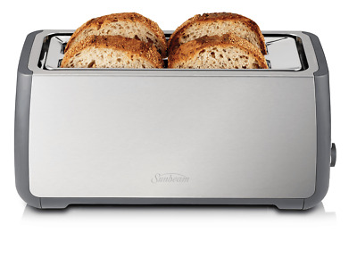 NEW Sunbeam TA4540 Long Slot Toaster 4 Slice Stainless Steel