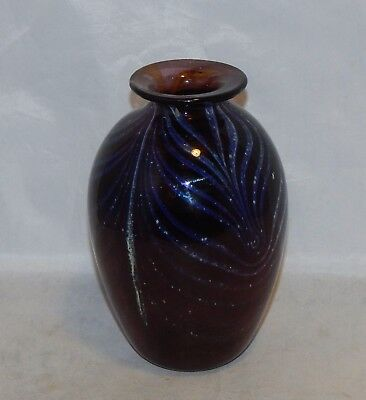 Signed Art Glass Vase Purple with Pulled Pattern