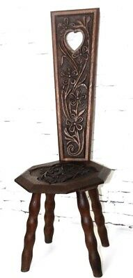 Arts and Crafts Carved Oak Spinning Chair- FREE Shipping [PL3931]