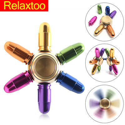 Fidget Rainbow Metal Spinner Colorful Bullet Hand Spiner Toys for Christmas Gift