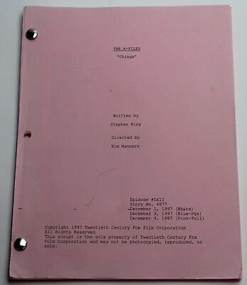 THE X FILES * 1997 Original TV Script, Only Episode EVER Written by STEPHEN KING