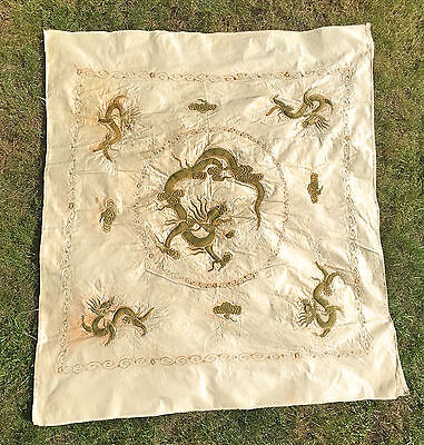 Antique 19Th Century Chinese Qing Silk Embroidered Wall Hanging Of Dragons