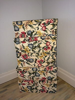Stack Of 5 Vintage Fabric Covered Boxes Floral Bark Cloth Calico Lined 3 Sizes