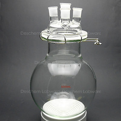 5000ml,Glass Reaction Vessels,5L,24/29,4-Neck,Round Bottom Reactor,W/Lid & Clamp