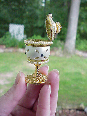 Decorated Carved Real Quail Egg Engagement/Trinket Ring Gift Box Collectible