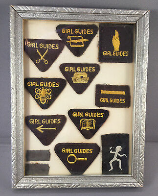 10 Vintage 1956 to 1958 Girl Guides/Brownie Patches in a Vintage Wooden Frame