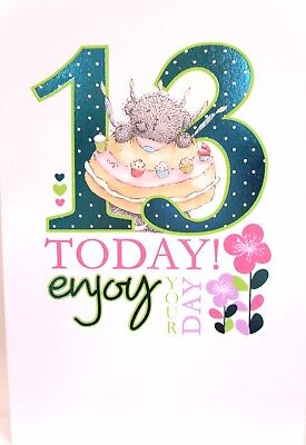"Me To You  Tatty Teddy "" 13th "" Birthday Card ~ Bear With Cake"