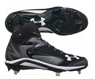 Under Armour Mens Yard Mid Metal Baseball Cleats Size 11.5 Black Charcoal $85